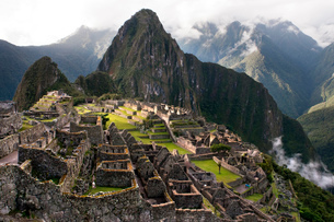 View of the Machu Picchu landscape. Machu Picchu is a city located high in the Andes Mountains in moの写真素材 [FYI02741911]