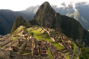 View of the Machu Picchu landscape. Machu Picchu is a city located high in the Andes Mountains in moの写真素材 [FYI02742338]