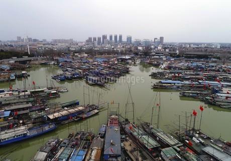 Hundreds of Red Flags in Hongze Lake Fishing Port, Huaian, Jiangsu Province,Chinaの写真素材 [FYI02742367]