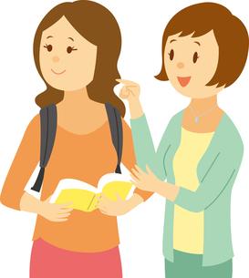 ガイドブックを持って道を尋ねる韓国系女性のイラスト素材 [FYI02742523]