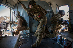 Afghan Air Force members inside of a Mi-17 helicopter.の写真素材 [FYI02742637]