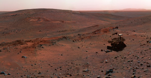 Mars Exploration Rover Spirit on the flank of Husband Hill.の写真素材 [FYI02742882]