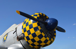 Close-up view of the propeller on an AT-6F Texan aircraft.の写真素材 [FYI02743067]