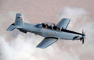 An Iraqi Air Force T-6 Texan trainer aircraft over Tikrit, Iraq.の写真素材 [FYI02743174]