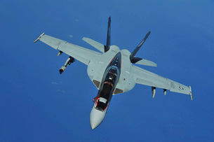 A U.S. Navy F/A-18F Super Hornet in flight near Joint Base Pの写真素材 [FYI02743268]