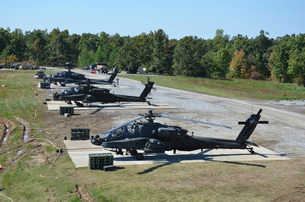 An air crew starts their AH-64D Apache helicopters at Fort Campbell.の写真素材 [FYI02743397]