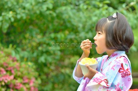 かき氷を食べる浴衣の女の子(初夏)の写真素材 [FYI02754816]