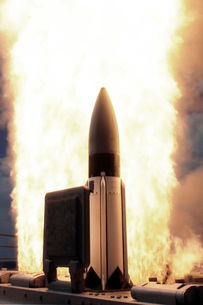 A Standard Missile 3 is launched from the Ticonderoga-classの写真素材 [FYI02756685]
