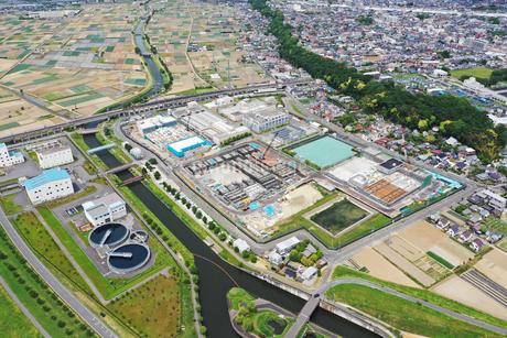 市川ポンプ場の空撮写真の写真素材 [FYI02810077]