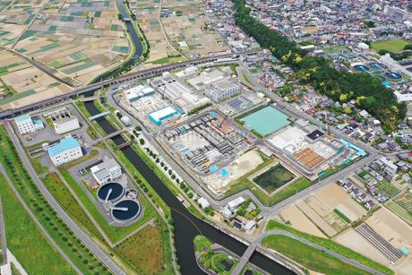 市川ポンプ場の空撮写真の写真素材 [FYI02810078]
