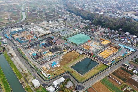 市川ポンプ場の空撮写真の写真素材 [FYI02810079]