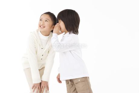 女の子に耳打ちする男の子の写真素材 [FYI02811145]