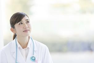 遠くを眺める女医の写真素材 [FYI02812651]