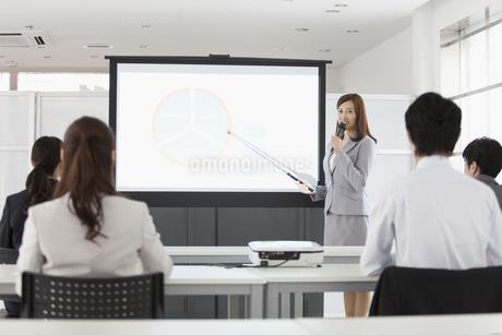 指し棒を持つビジネスウーマンとビジネスマンの写真素材 [FYI02813840]