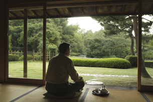 庭園を眺める男性の写真素材 [FYI02814011]