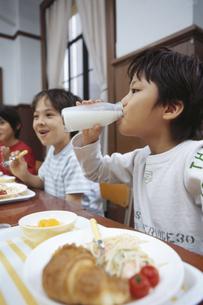 牛乳を飲む小学生の写真素材 [FYI02814071]