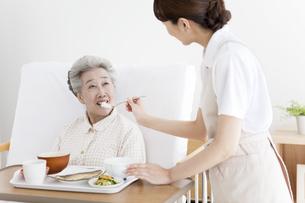 食事介助をする女性とシニア女性の写真素材 [FYI02814119]