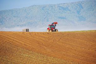 畑とトラクターの写真素材 [FYI02817198]