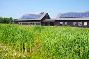 サロベツ湿原センターと太陽光発電の写真素材 [FYI02817218]
