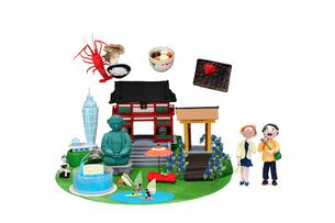 観光地クラフト 鎌倉・江の島とご当地名物と老夫婦の写真素材 [FYI02817603]