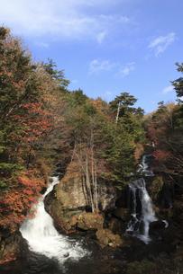 龍頭(竜頭)の滝の紅葉と青空の写真素材 [FYI02817804]