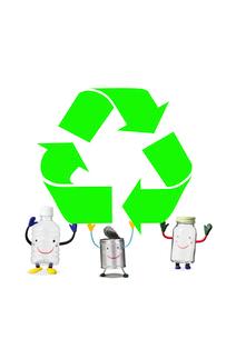 リサイクルマークとリサイクル品の写真素材 [FYI02817837]