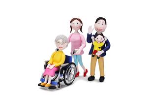 車椅子に乗った祖母と家族(4人)の写真素材 [FYI02817863]