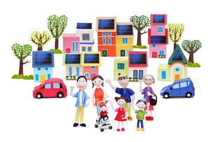 太陽光発電の街と家族7人と電気自動車とハートの木々の写真素材 [FYI02817888]