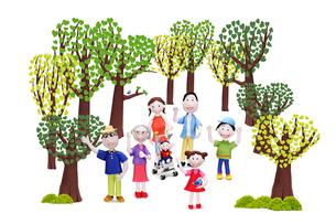 家族7人(青い鳥を手に乗せた女の子)とハートの木々の写真素材 [FYI02817966]