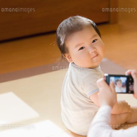 デジカメで写真を撮られる赤ちゃんの写真素材 [FYI02817976]