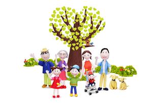 家族7人(ベビーカーの赤ちゃん)と2匹の犬とハートの木の写真素材 [FYI02818019]