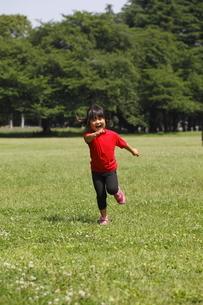 新緑の中ランニングをする4歳の女の子の写真素材 [FYI02818023]