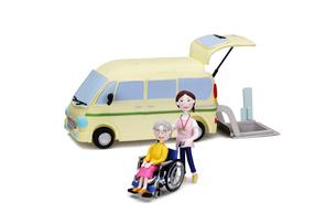介護車両と車椅子に乗った老人と介護士の写真素材 [FYI02818242]