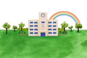 校舎と虹の写真素材 [FYI02818243]