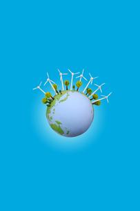 地球と風力発電の写真素材 [FYI02818255]