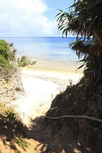 秘密のビーチへ続く崖とロープの写真素材 [FYI02818287]