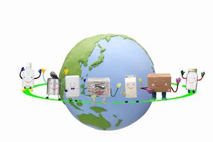 リサイクル品と地球の写真素材 [FYI02818387]