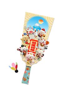 招き猫の七福神の羽子板の写真素材 [FYI02818448]