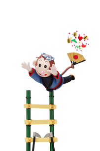 はしごで演技をする申の写真素材 [FYI02818618]