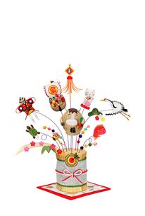 金の藁飾りと午のだるまの写真素材 [FYI02818710]