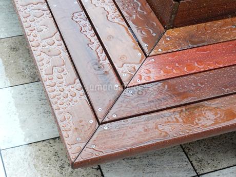 雨に濡れた木製のベンチの写真素材 [FYI02820883]