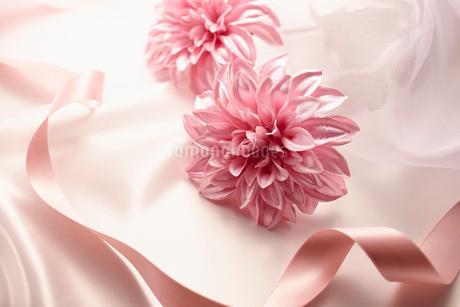 花とピンクのリボンとドレープのウェディングイメージの写真素材 [FYI02822618]