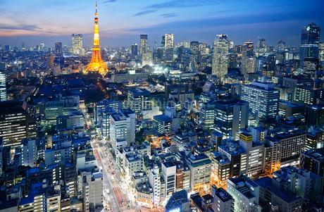 東京タワーと沢山のビルがある夕方の都会の風景の写真素材 [FYI02823040]