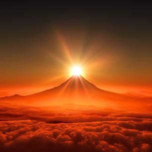 富士山の日の出のイラスト素材 [FYI02823527]