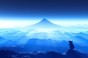 富士山の日の出とネズミのシルエットのイラスト素材 [FYI02823771]