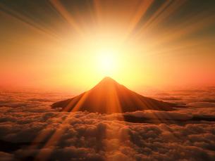 富士山の日の出の写真素材 [FYI02823835]