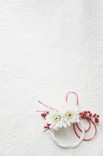 白い和紙上の水引と花の締縄の写真素材 [FYI02824525]