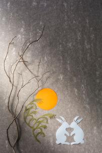 天板の上に置かれた紙で出来た月とウサギとススキの写真素材 [FYI02824717]