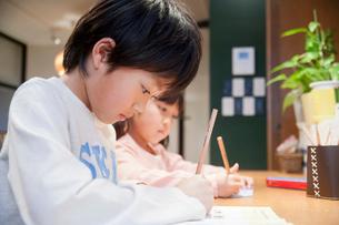 ワークルームで勉強する兄妹の写真素材 [FYI02824735]
