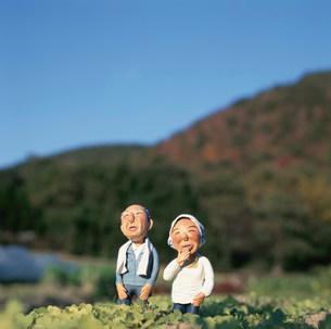 畑に立つ老夫婦のクラフトの写真素材 [FYI02824753]